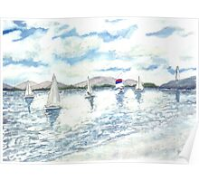 sailboats sailing seascape beach watercolour painting art print Poster