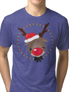 FESTIVE CHRISTMAS T-SHIRT :: rudolph the red nosed reindeer Tri-blend T-Shirt