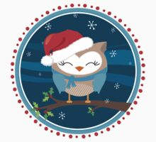 FESTIVE CHRISTMAS T-SHIRT :: boy owl night time Kids Clothes