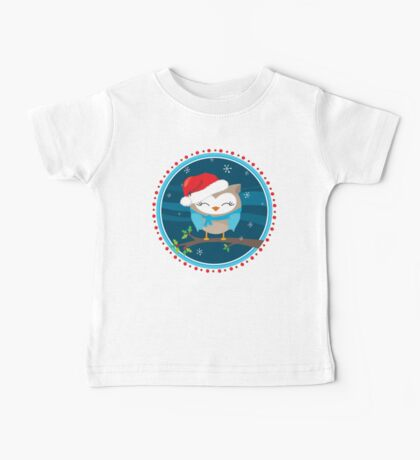 FESTIVE CHRISTMAS T-SHIRT :: boy owl night time Baby Tee