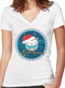 FESTIVE CHRISTMAS T-SHIRT :: boy owl night time Women's Fitted V-Neck T-Shirt