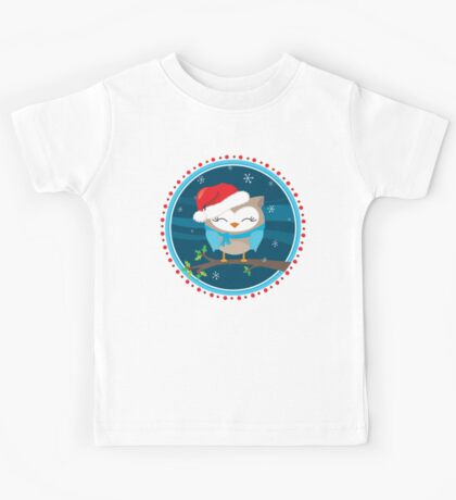 FESTIVE CHRISTMAS T-SHIRT :: boy owl night time Kids Tee