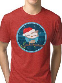 FESTIVE CHRISTMAS T-SHIRT :: boy owl night time Tri-blend T-Shirt