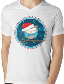 FESTIVE CHRISTMAS T-SHIRT :: boy owl night time Mens V-Neck T-Shirt