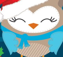 FESTIVE CHRISTMAS T-SHIRT :: boy owl night time Sticker