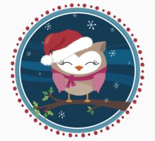 FESTIVE CHRISTMAS T-SHIRT :: girl owl night time Kids Clothes