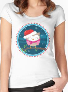 FESTIVE CHRISTMAS T-SHIRT :: girl owl night time Women's Fitted Scoop T-Shirt