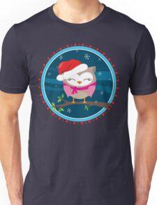 FESTIVE CHRISTMAS T-SHIRT :: girl owl night time Unisex T-Shirt