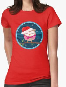 FESTIVE CHRISTMAS T-SHIRT :: girl owl night time Womens Fitted T-Shirt