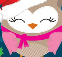 FESTIVE CHRISTMAS T-SHIRT :: girl owl night time Sticker
