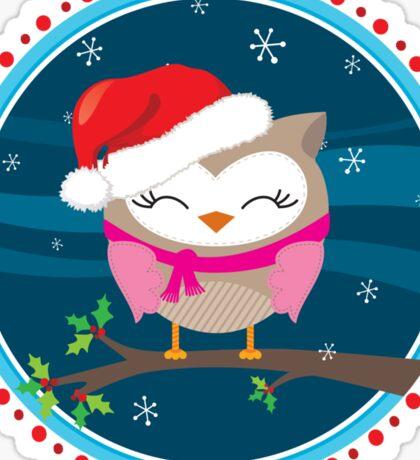 FESTIVE CHRISTMAS T-SHIRT :: girl owl night time Sticker