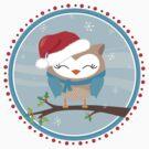 FESTIVE CHRISTMAS T-SHIRT :: boy owl day time by Kat Massard