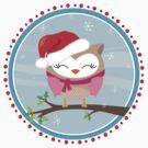 FESTIVE CHRISTMAS T-SHIRT :: girl owl day time by Kat Massard