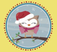 FESTIVE CHRISTMAS T-SHIRT :: girl owl day time Kids Tee