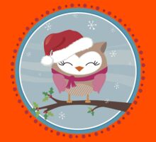 FESTIVE CHRISTMAS T-SHIRT :: girl owl day time Kids Tee