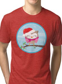 FESTIVE CHRISTMAS T-SHIRT :: girl owl day time Tri-blend T-Shirt