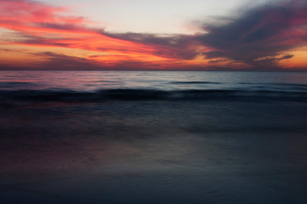 Saint Kilda beach, by night.  by Beau Williams