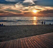 Saint Kilda beach and Board Walk.  by Beau Williams