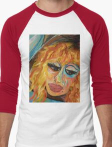 Fashionista in Coral and Blue Men's Baseball ¾ T-Shirt