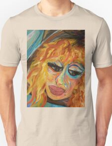 Fashionista in Coral and Blue T-Shirt