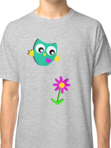 Cute Owl and a Flower Classic T-Shirt