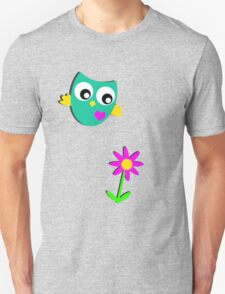 Cute Owl and a Flower T-Shirt
