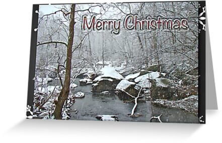 Merry Christmas Greeting Card - Snowy Creek by MotherNature