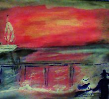 The pier seen at sunset by a couple, watercolor by Anna  Lewis
