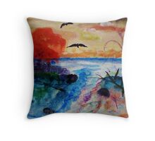 Fall on the waters separtion, watercolor Throw Pillow
