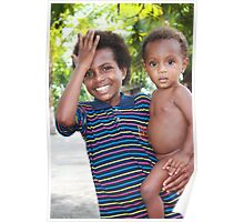Papuan Girl with Baby  Poster