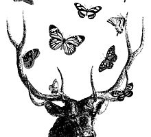 The Stag & Butterflies - Black & White by EclecticAtHeART