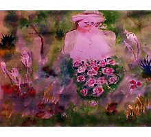 In her garden #2, watercolor Photographic Print