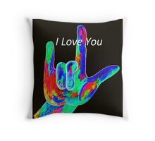 American Sign Language I LOVE YOU on Black Throw Pillow