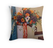 Colour Me Orange! Floral Display in South Shields Church Throw Pillow