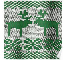 Christmas Jumper Green on White Poster
