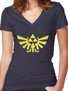 Zelda - Triforce (Yellow) Women's Fitted V-Neck T-Shirt