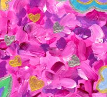 Girly Heart-Shaped Valentine Floral Acrylic Painting Sticker
