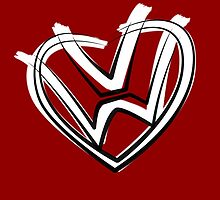 VW heart logo in a painted style by astralsid