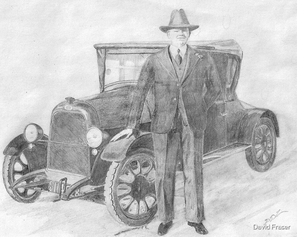 E.J. Miles and his car by David Fraser
