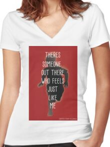 THERES SOMEONE OUT THERE Women's Fitted V-Neck T-Shirt