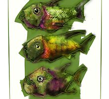 A Painting of Three Ferocious Looking Fishes by astralsid