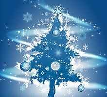 Festive Christmas Case - Blue Decorative Christmas Tree by ruxique