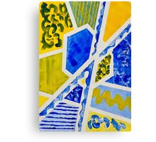 Geometric Blue and Yellow Abstract Acrylic Painting Canvas Print