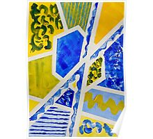 Geometric Blue and Yellow Abstract Acrylic Painting Poster