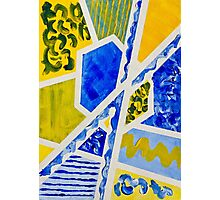 Geometric Blue and Yellow Abstract Acrylic Painting Photographic Print