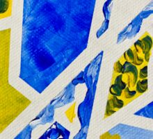 Geometric Blue and Yellow Abstract Acrylic Painting Sticker