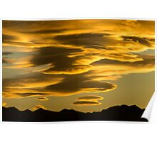 Flying Saucer Sunset Poster