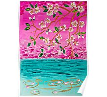 Cherry Blossom Branch Sakura Water Ripples Acrylic Painting Poster