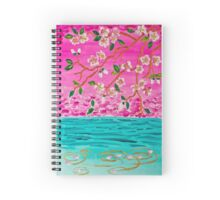 Cherry Blossom Branch Sakura Water Ripples Acrylic Painting Spiral Notebook