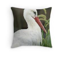 White Stork Throw Pillow